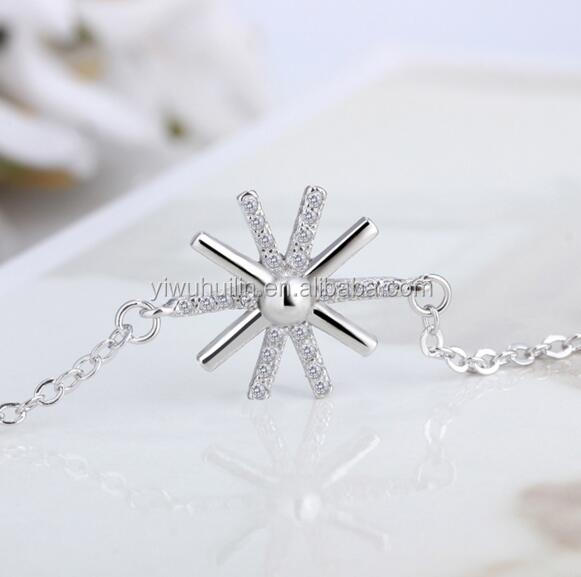 YFY5003 Yiwu Huilin Jewelry New jewelry Korean style of the fancy crystal sunflower silver bracelet anklets