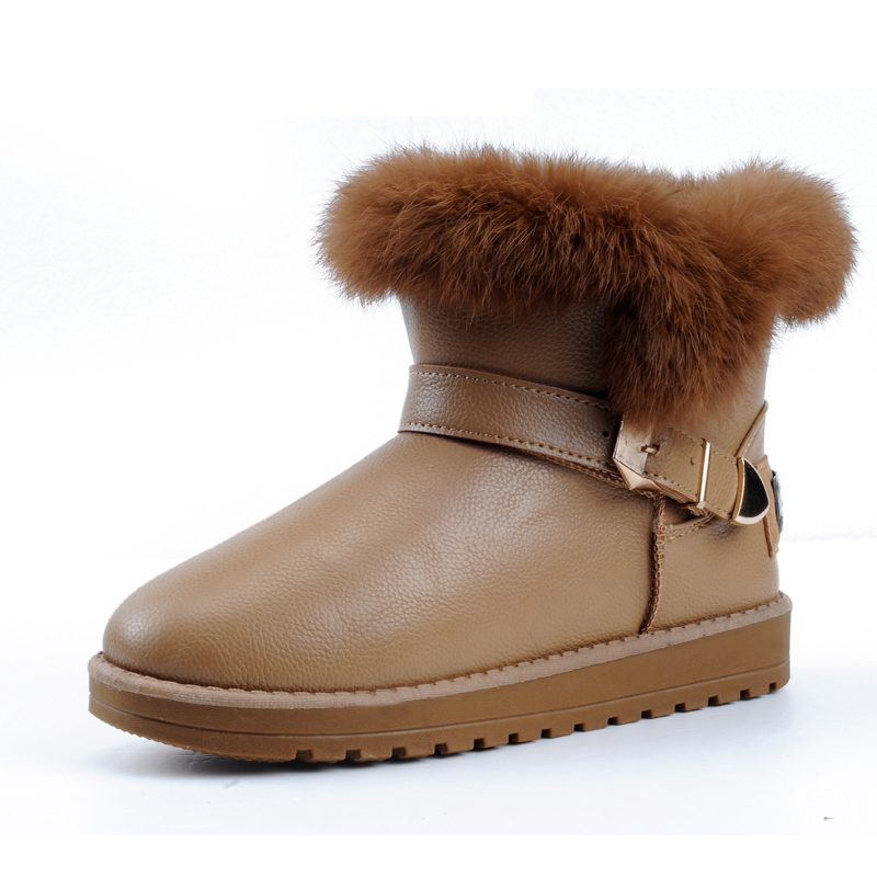 2c8161dc976e Get Quotations · 2013 winter snow boots genuine leather fashion short boots  plush flat heel boots colorant match female