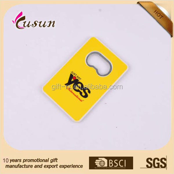 Best quality and cheap 2015 hot sale full color printing plastic magnet bottle opener card