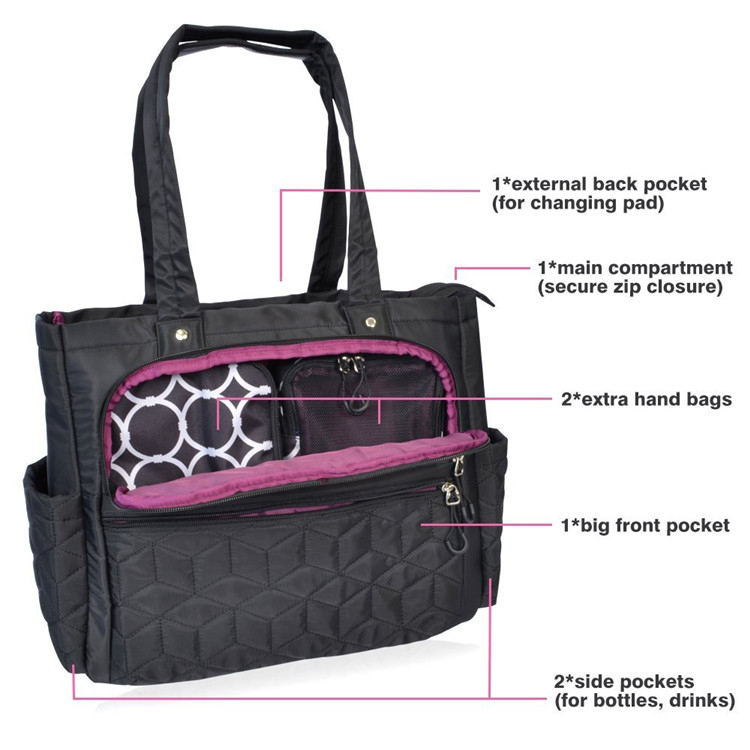 Baby Travel Diaper Tote Bag Organizer with Stroller Collection Strap and Change Pad
