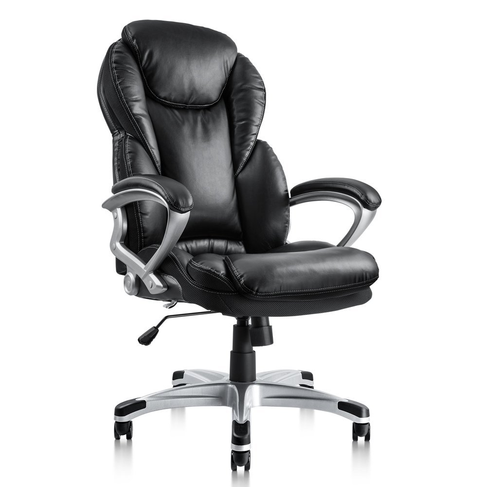 PTO Furniture Executive Office Chair Ergonomic Thick Cushion Bonded PU Leather High Back Padded Armrests Swivel Desk Chair (Black)