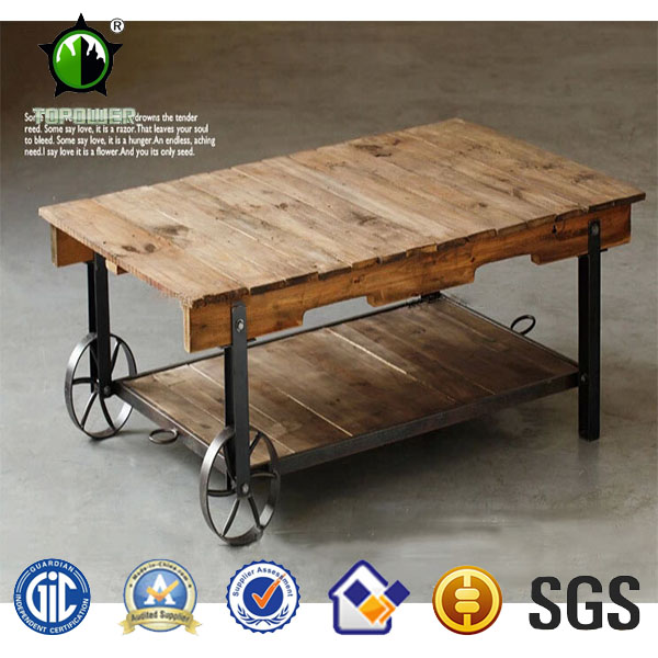 Antique Wood Dining Table Metal Frame Top Square Coffee Country Style Home