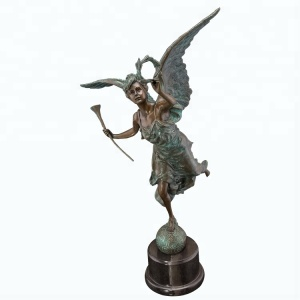 Angel with Garland By Auguste Moreau - Sale cheap small size bronze metal miniature angel little mini angel statue figurines