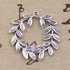 Custom olive branch wreath charms vintage silver fashion olive branch wreath charm pendant for jewelry 41*36mm