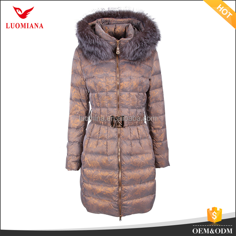 ladies overcoat European style slim women coat unique design print down jacket coat with fur hood
