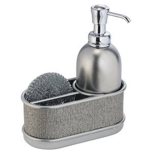 2018 New Products Home Decor Kitchen Sink Refillable Stainless Steel Foam Liquid Soap Dispenser with Sponge Caddy Holder