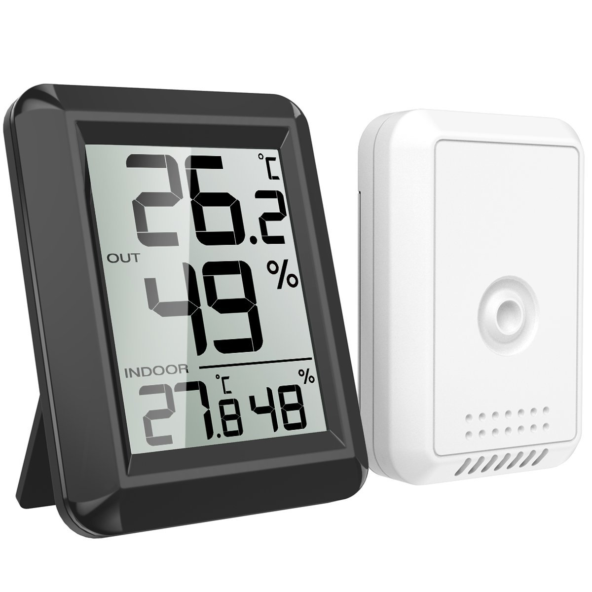 AMIR Digital Hygrometer Indoor Outdoor Thermometer, Humidity Monitor with Temperature Humidity Gauge, Wireless Outdoor Hygrometer, Room Thermometer for Home, Office, Baby Room, etc(Mini-Black)