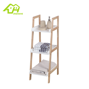 Removable bath space saver bathroom bamboo ladder towel rack