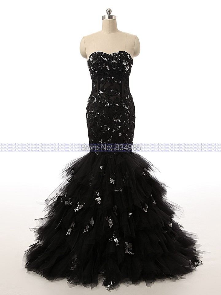 Custom Made Best Selling Real Sample Sweetheart Mermaid Black Long Evening Dress Appliques Prom Dresses