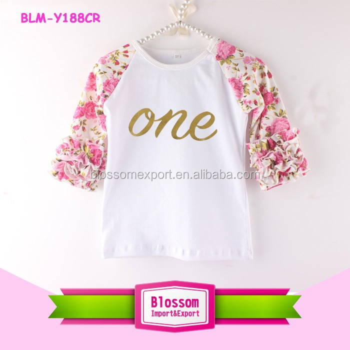 Baby Girls Embroidered Cupcake Raglan Shirt 3/4 Sleeve Raglan Baseball T-Shirt Wholesale Birthday Icing Raglan Shirts