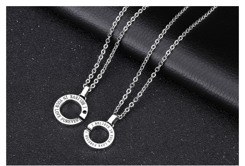 Factory Direct Sales Stainless Steel Round Alphabet Love Couple Pendant