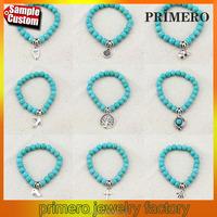 Vintage Pendant Turquoise Bead Bangles Fashion Jewelry Charm Friendship Elastic Bracelet
