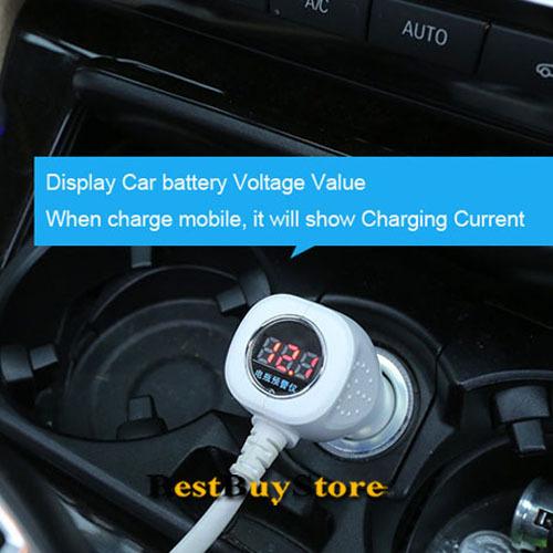 Высокое качество 2 Dual USB 3 розетки жк-дисплей автомобильного прикуривателя для iPhone 6 6 плюс 5S для iPad для SAMSUNG S6 S5 S4 примечании
