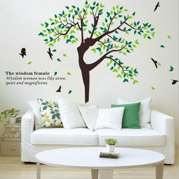 Free Shipping AY203 New Natural dancer tree girl Coat hanger Wall Sticker Wall Mural Home Decor Room Kids