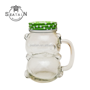 16oz Glass Panda Design Mason Jar with Handle & Straw
