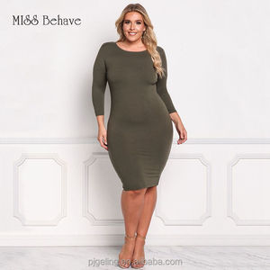 e8f77839e5 2017 Aliexpress Wish Amazon best selling women apparels pure colour bodycon  dress with plus size