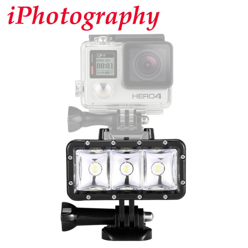 Водонепроницаемый Высокой Мощности Затемнения СВЕТОДИОДНЫЕ ЛАМПЫ Видео POV Флэш Заполняющий Свет Ночь для GoPro Hero 4 3 + 3 для xiaomi Yi Действий камера