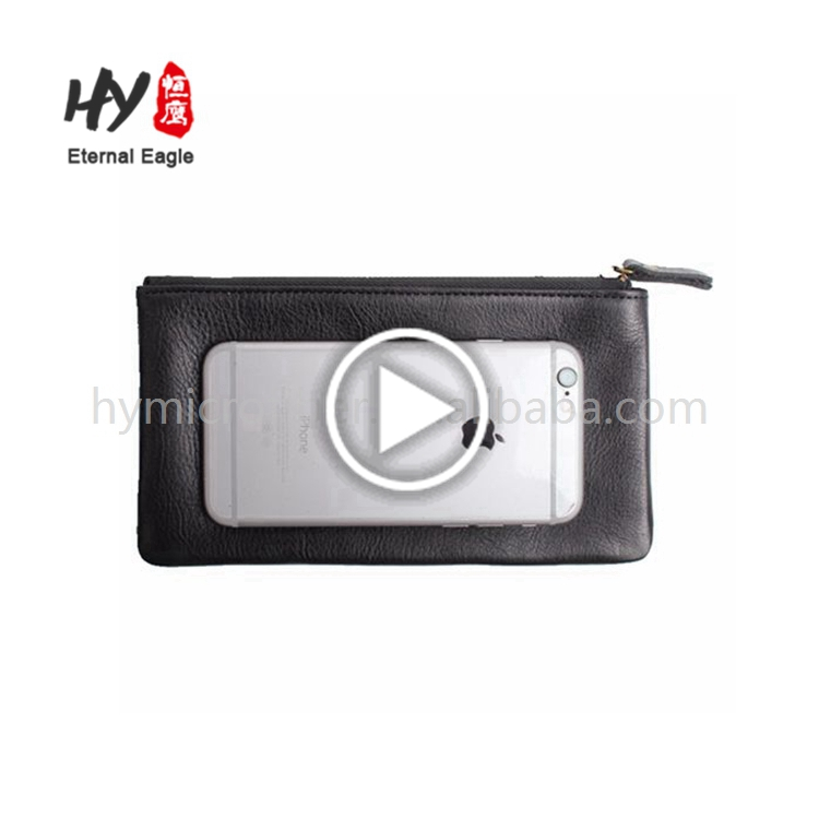 The men cowhide leather money clip scalloped wallet