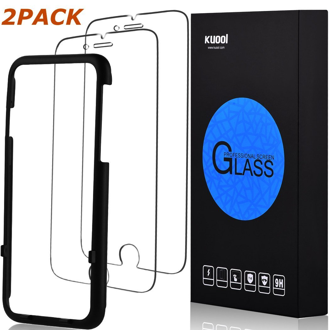 iPhone 7 Plus Screen Protector tempered Glass 2Pack [3D Touch Compatible] [Tempered Glass] [Scratch-Resistant] [Ultra Clear] [9H Hardness] W/[Alignment Tool] for Apple iPhone 7/6/6s Plus/ [ 5.5 inch ]