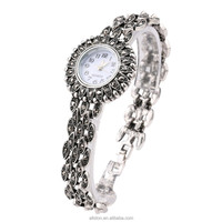 New high-quality jewelry silver-plated watches inlaid gray crystal ladies retro electronic form
