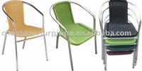 aluminum with PE rattan garden outdoor beach stack chairs rattan chairs beach chairs