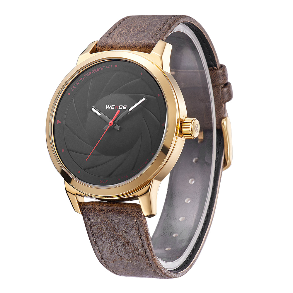 WEIDE WD005G-1C men 3atm water resistant Stop gold watch PU leather minimalist gold plated wrist watch