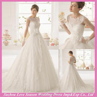 WD9232 Brand new sheer back ball gown ruched tulle skirt puffy ball gowns white beautiful full lace cap sleeve wedding dress