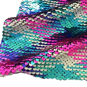 Wholesale tejidos textiles mermaid printing reversible embroidery multi color sequin fabric mesh for women fancy dress