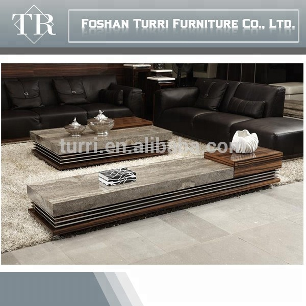 Luxury design Good Quality wooden base marble travertine top TV stand