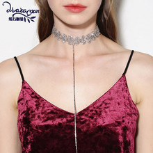 Barlaycs Brand 2017 Fashion Long Pendant Crystal Necklace Women Rhinestone Choker Statement Necklace Jewelry Birthday Gifts DD33