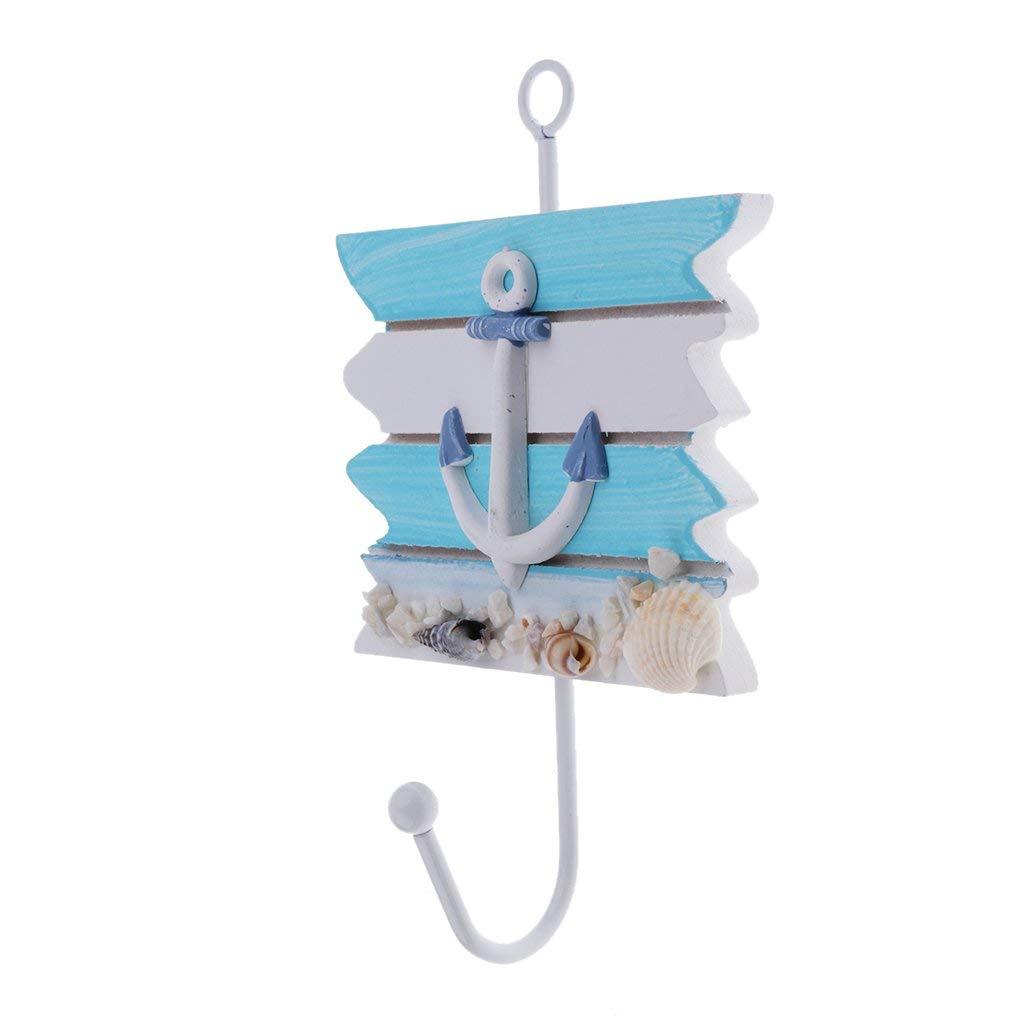 Homyl Mediterranean Style Sailing Fish Utility Hook Seaside Wood & Metal Door Mounted Hanger Coat Hooks Wall Rack - Anchor, 16.5 x 11cm