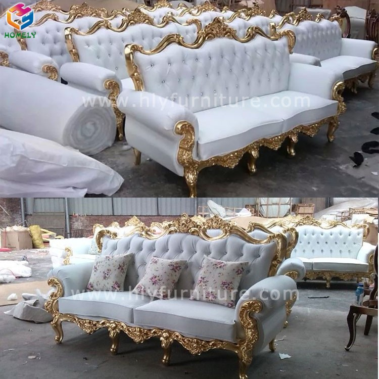High Quality Used Solid Wood Royal Living Room Wedding Leather