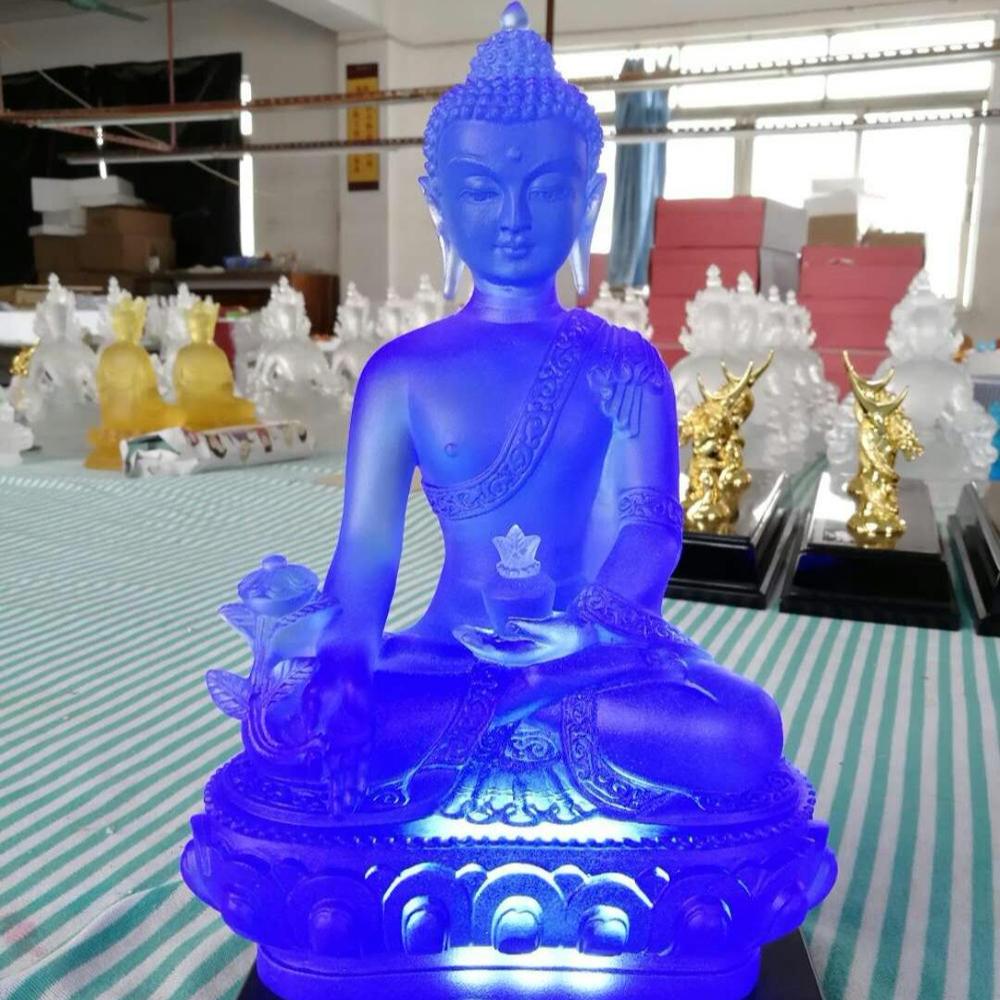 Exquisite Tibet Buddhism Hand made liuli colored glaze statue Vajrasattva White