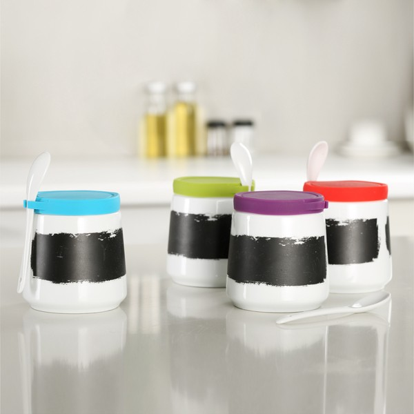 Bulk ceramic spice jar wholesale with spoon and silicone lid