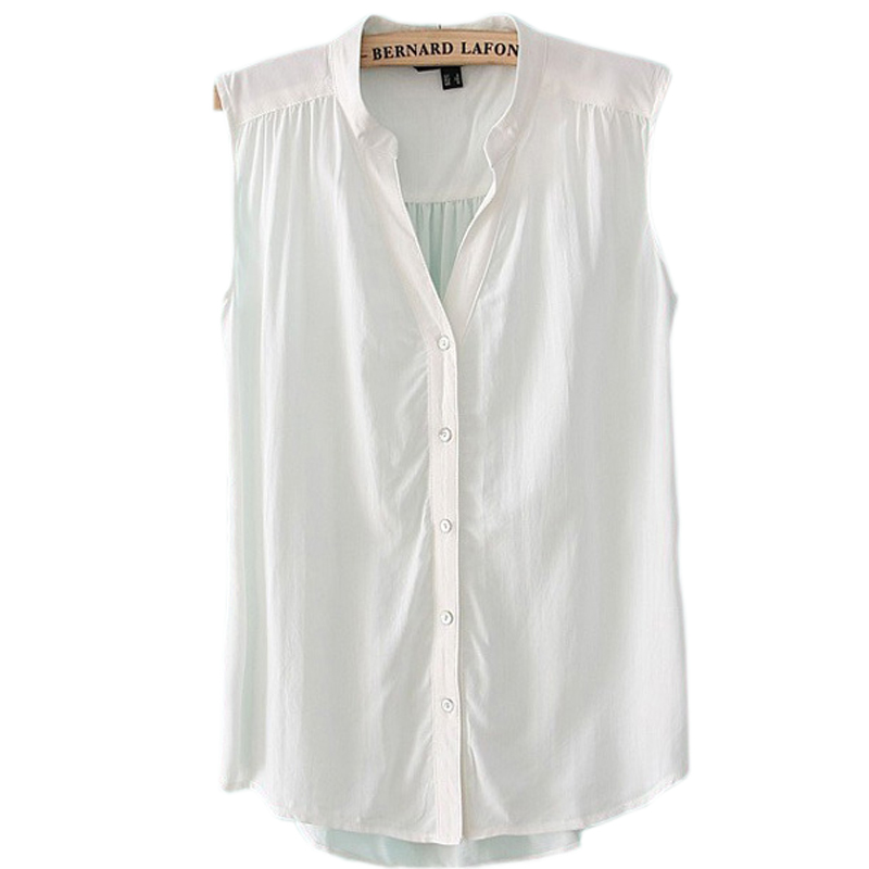 ac87a383536f11 Get Quotations · New European High Quality New Women s Top Cotton Sleeveless  V Neck Candy Color Blouse Shirt White