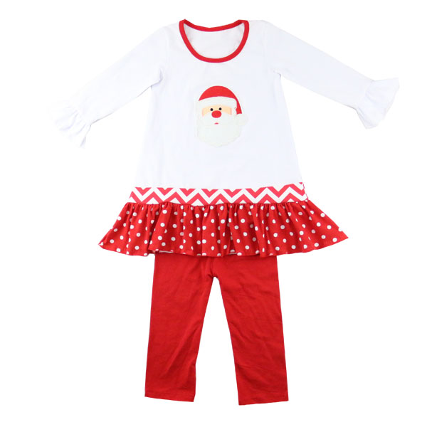 Kids Boutique Christmas Clothing Wholesale Long sleeved Ruffle Santa Claus Applique Baby Girl Outfits
