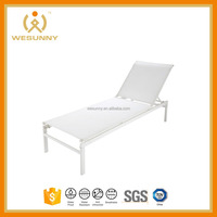 SOLAR Metal and plastic-coated canvas sunlounger