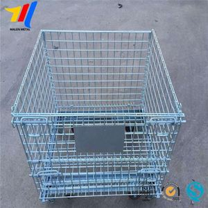 Industrial Stackable Storage Wire Mesh Collapsible Warehouse Container with Smoothly Running Casters