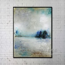 Float frame abstract paintings with description of painting