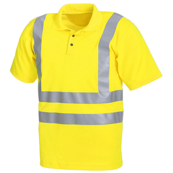 Alta calidad fluorescente de color amarillo de alta visibilidad reflectante polo shirt