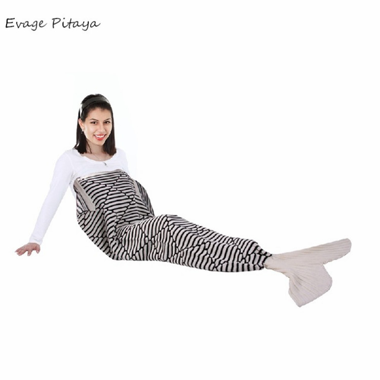 custom Size can be customized white and black Striped Knitted Sofa Sleeping Bag mermaid tail crochet free pattern