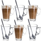 nespresso tempered glass coffee cups 8oz glass cups coffee with stainless steel spoon