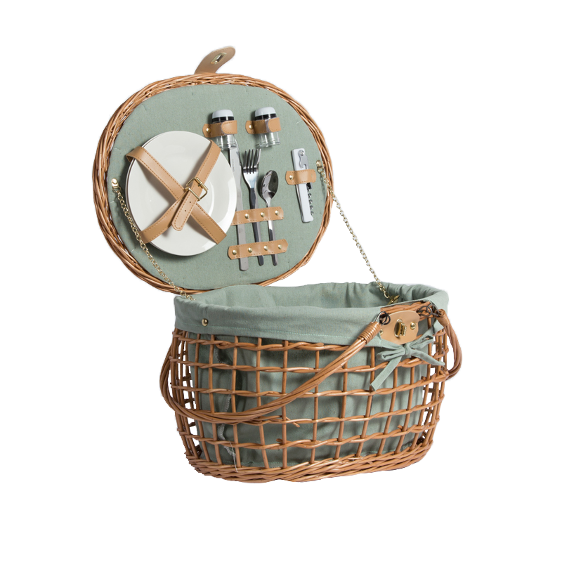 Custom design tessuto materiale naturale cibo regalo di stoccaggio paniere di tessitura di vimini di salice ovale set da picnic cesto con maniglie coperchio