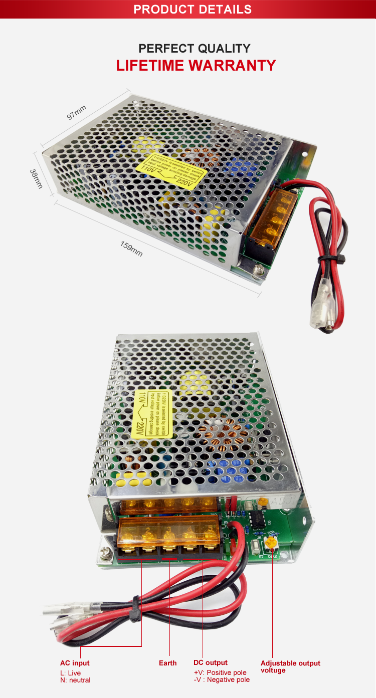 Function Ac Dc Power Supply 60W 24V 2A 0.25A