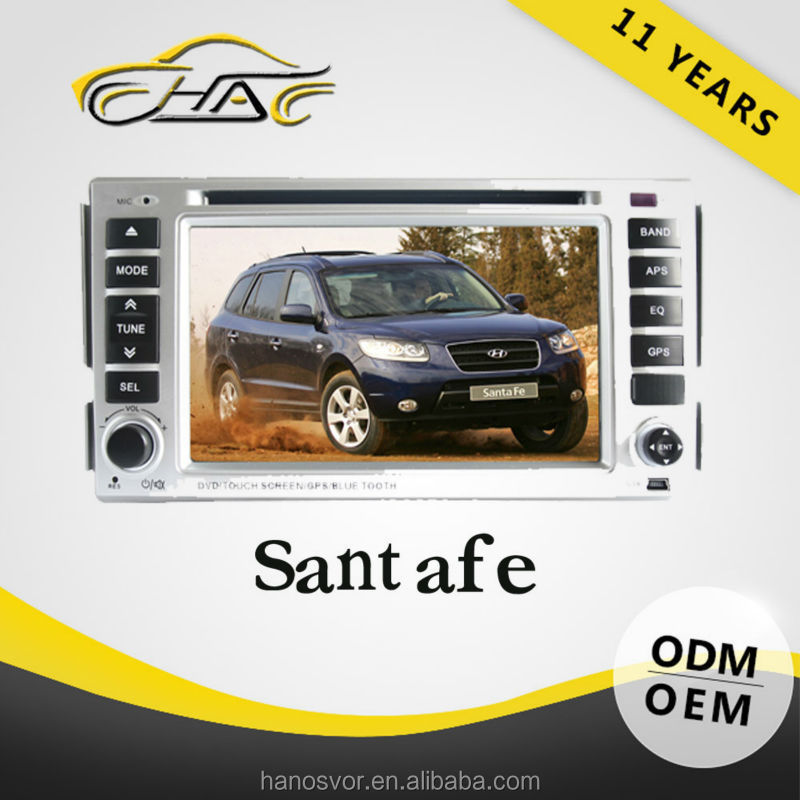 2din gps for hyundai santa fe with bluetooth tv radio