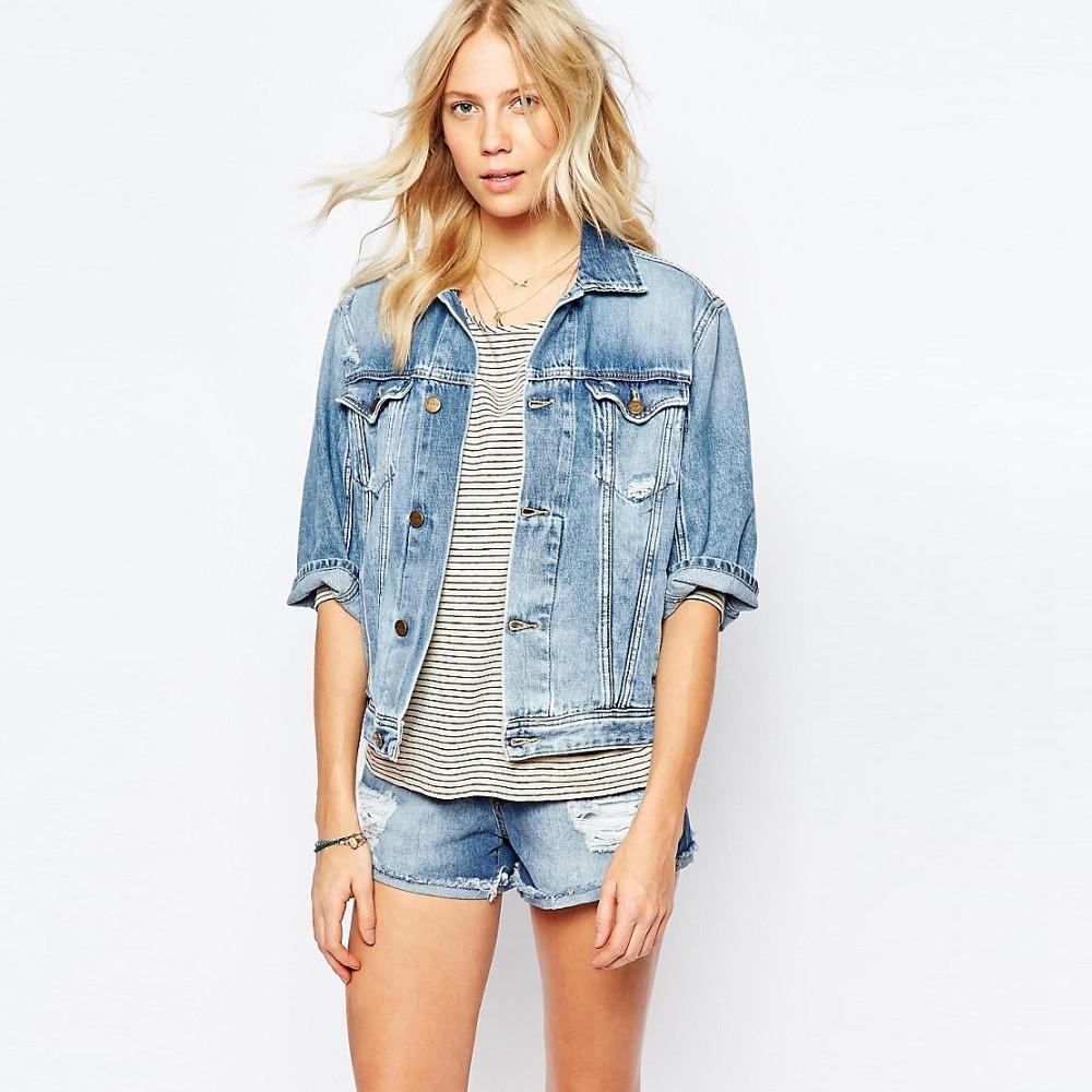 b1ab879a133 Black Plain Denim Jacket Women Cheap Factory Price In Bulk - Buy ...