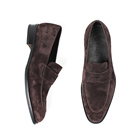 2e627d24794 VIKEDUO Hand Made China Brand Dark Brown Calf Suede Penny Loafers Casual  Leather Loafer Shoes Men