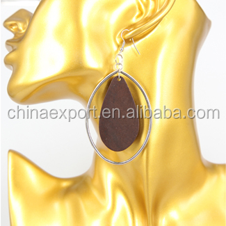 Hot Sale Tear Drop Earrings With Wooden Sheet And Stainless Steel