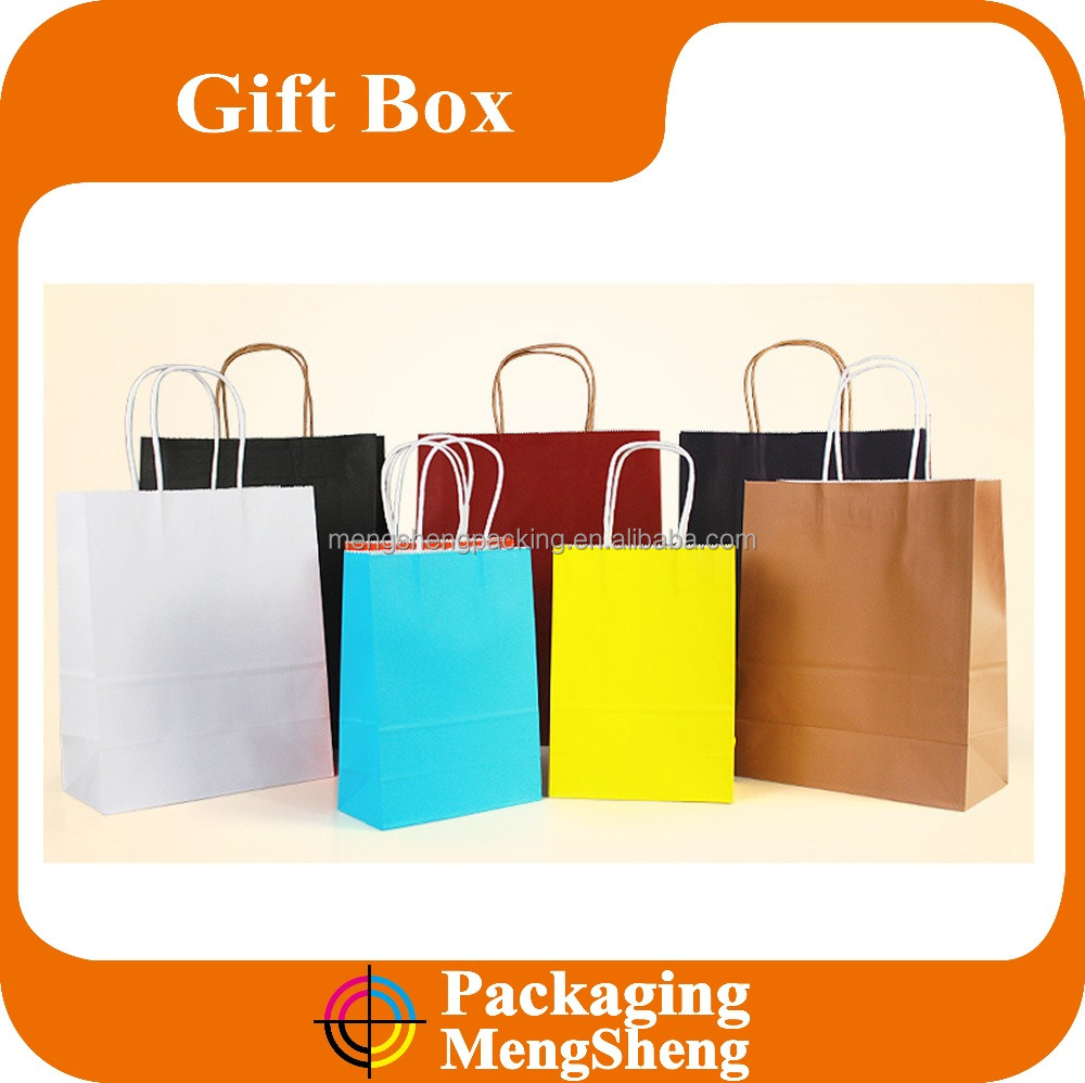 Colorful Food Package Brown Kraft Paper Bag With Paper Handle