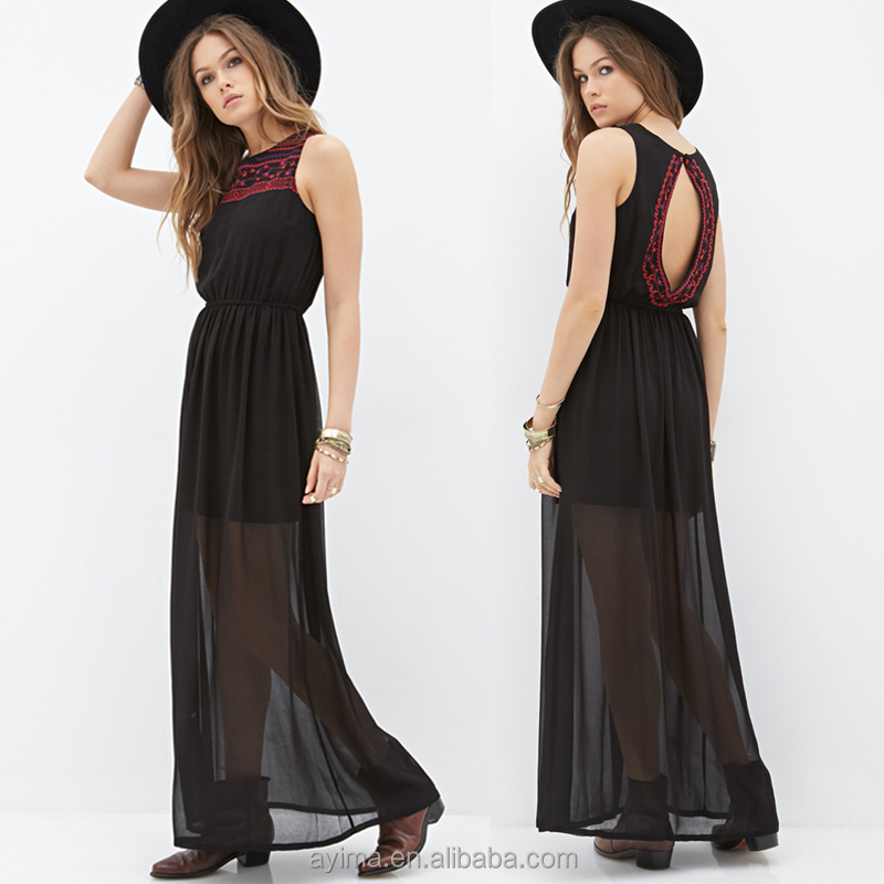 cheap china clothing manufacturer, embroidery sexy dress for woman chiffon maxi dresses